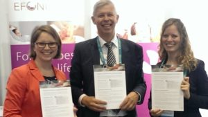 Johanna Walz, Professor Berthold Koletzko and Philine Jaeger introducing the EFCNI factsheet on Parenteral Nutrition